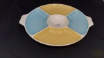 Prato petisqueira  colorida com divisorias porcelana Maua. medida 28 cm de diametro