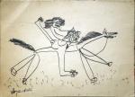 Dileny Campos (Belo Horizonte/MG, 1942). CAVALGANDO. 1966 (ou 1986?). Grafite sobre papel. 26 x 35 cm. Assinado Dileny Rio 18/12/66 (ou 18/12/86?) (cie)