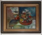 Samuel Brandão (Manhuaçu/MG, 1925). NATUREZA MORTA (FLORES E BARCO). 1982. Óleo sobre tela. 50 x 60 cm. Assinado Samuel Brandão (csd). Tela de grandes dimensões, alegre e decorativa.