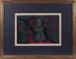 Raimundo de Oliveira (Feira de Santana/BA, 1930 - Salvador/BA, 1966). PEDRO, O PESCADOR (DO ÁLBUM PEQUENA BÍBLIA DE RAIMUNDO DE OLIVEIRA).  Xilogravura em cores sobre papel. 25,5 x 37,5 cm (medida do taco).