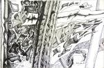 """Aloizio Emilio Zaluar (Rio de Janeiro/RJ, 1937). ZURARA 95. 1995. Nanquim sobre papel. 25 x 35 cm. Assinado Alzalu 95 (cid). No verso: Aloizio Emilio Zaluar / """"Zurara 95"""" / Desenho / Rio de Janeiro / tel. 274-4270. Não possui moldura."""