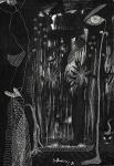 Santa Rosa (Tomás Santa Rosa Junior) (João Pessoa/PB, 1909 - India, 1956). DESENHO SURREALISTA EM PRETO. 1951. Frottage sobre nanquim sobre papel. 23 x 16 cm. Assinado S. Rosa / 51 (centro, inferior). No verso: desenho amador feito em esferográfica. Sem moldura.