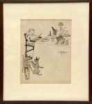 J. Carlos (Rio de Janeiro/RJ, 1884 - 1950). O BANQUETE DA CRIANÇA. Nanquim sobre papel. 26 x 20 cm. Assinado J. Carlos (centro, à direita). J. Carlos é o mais consagrado caricaturista brasileiro do século XX.