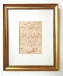 Eugênio de Proença Sigaud (Santo Antonio de Carangola/RJ, 1899 - Rio de Janeiro/RJ, 1979). ESCRAVOS SE LIVRAM DOS GRILHÕES. 1972. Crayon e hidrocor sobre papel. 21 x 14,5 cm. Assinado E P Sigaud 1972 (cie).