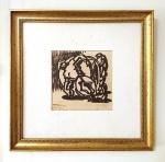 Eugênio de Proença Sigaud (Santo Antonio de Carangola/RJ, 1899 - Rio de Janeiro/RJ, 1979). HOMENS MOVENDO O MUNDO. 1971 - 1972. Crayon e hidrocor sobre papel.  6 x 6 cm. Assinado E P Sigaud 1971 - 1972 (cie).