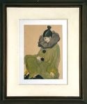 Rubens Ferreira das Trinas, dito Trinas Fox (Rio de Janeiro/RJ, 1899 - 1961).  COLOMBINA. Sem data. Nanquim e aquarela sobre papel. 33 x 23 cm. Assinado Trinas Fox (cid). Vidro anti-reflex. Moldura recente.