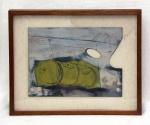 José Carlos Nogueira da Gama, dito Gama (1947). PALETA ABSTRATA. 1981. Óleo sobre madeira (paleta do pintor). 27 x 35 cm. Assinado Gama/81 (cid)