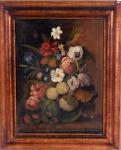 Bertrand-Georges de Bayle (França, 1788-1851). FLORES. Óleo sobre tela. 42 x 32 cm. Assinado cid.