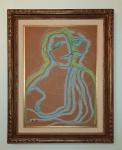 Paloma Picasso (França, 1949). FIGURA DE MULHER. Sem data. Giz de cera sobre papel Fabriano. Medidas aproximadas: 80 x 60 cm. Assinado Paloma Picasso (cid). Ricamente emoldurado. Sujidades no cie.