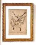 Clovis Graciano (Araras/SP, 1907 - São Paulo/SP, 1988). NO. 3 - EX. 91 / DANÇA. Sem data. Litografia. 31 x 22 cm. Assinado Graciano (cid)