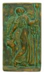 Autor Desconhecido. Baixo-relevo confeccionado em cimento, cinzelado e patinado, representando cena da mitologia grega. Assinado com o monograma PR. Trata-se de uma interpretação do relevo grego conhecido por As Ménades Dançarinas, atribuído a Kallimachos (circa 425-400 AC), hoje no Metropolitan Museum of Art de Nova York. h = 37; b = 21; p = 3 cm.
