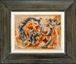 Ernest Briggs (EUA, 1923 - 1984). SEM TÍTULO. Sem data. Óleo sobre tela colada sobre eucatex. 22 x 29 cm. Assinado Briggs (cid). Assinado e localizado no verso: Briggs / de Mexico. Emoldurado em elegante moldura e em ótimo estado de conservação. Conhecido por sua pincelada expressiva, por vezes caligráfica, e por suas composições geométricas, Ernest Briggs faz parte da segunda geração de pintores expressionistas abstratos que ajudaram a manter a cidade de Nova York na posição de capital mundial da arte no período do pós-guerra (fonte: Wikipedia). Valorizadíssimo pintor americano.