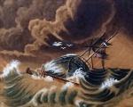 Assinatura não identificada. Inglaterra, século XIX. NAUFRÁGIO. Graciosa e movimentada aquarela inglesa representando cena de naufrágio, assinada no cid.