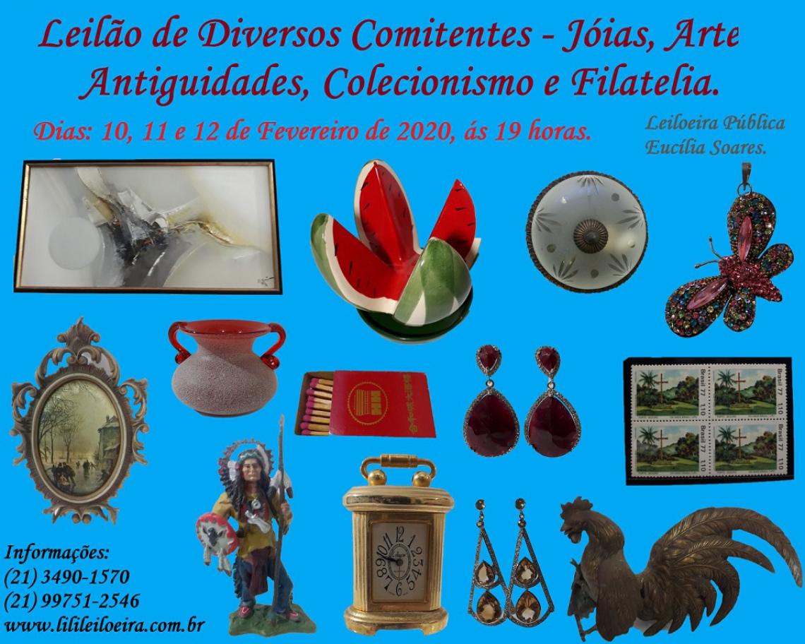 LEILÃO DE DIVERSOS COMITENTES - JÓIAS, ARTES, ANTIGUIDADES, COLECIONISMO E FILATELIA.