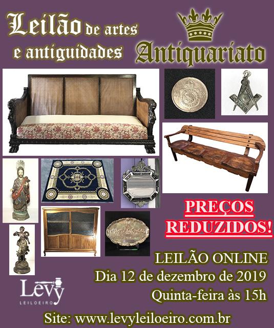 LEILÃO DE PREÇOS REDUZIDOS ANTIQUARIATO DE ANTIGUIDADES, CURIOSIDADES E COLECIONISMO - DEZEMBRO 2019