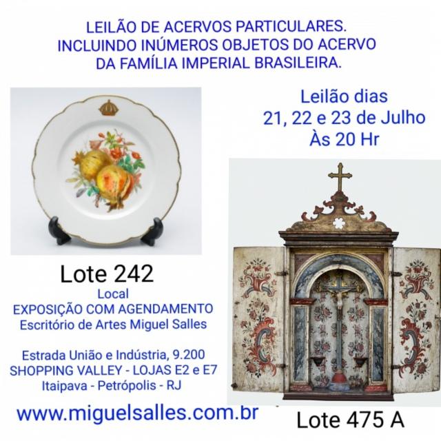 LEILÃO DE ACERVOS PARTICULARES. INCLUINDO INÚMEROS OBJETOS DO ACERVO DA FAMÍLIA IMPERIAL BRASILEIRA.