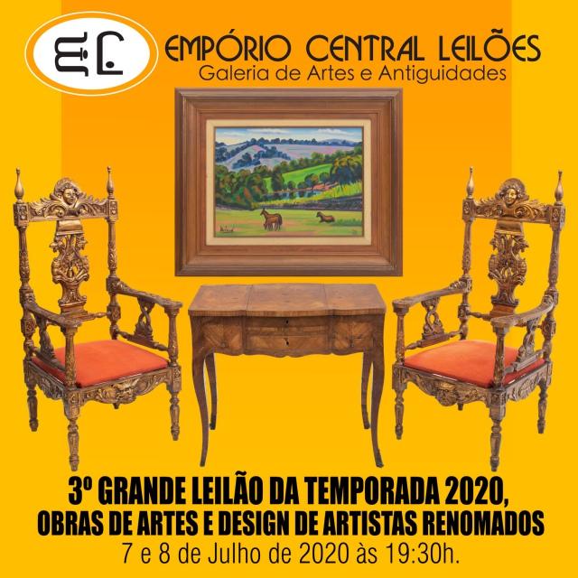 3º GRANDE LEILÃO DA TEMPORADA  2020, OBRAS DE ARTES E DESIGNER DE ARTISTAS RENOMADOS.