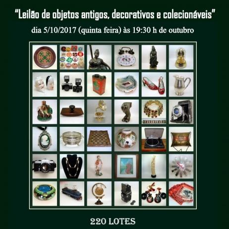 LEILÃO DE OBJETOS ANTIGOS, DECORATIVOS E COLECIONÁVEIS