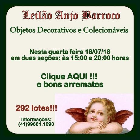 LEILÃO ANJO BARROCO DE VARIEDADES DECORATIVAS E COLECIONÁVEIS